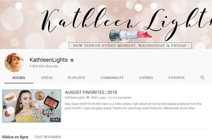 Youtubeuses beauté anglophones : KathleenLights