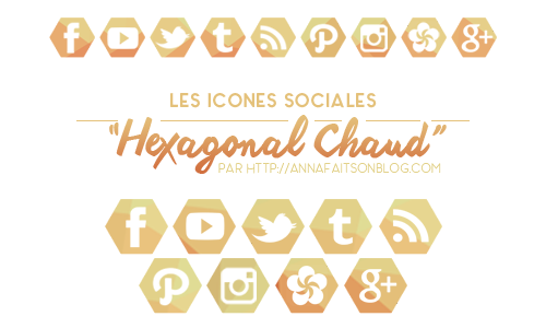 Icones sociales Hexagonal Chaud
