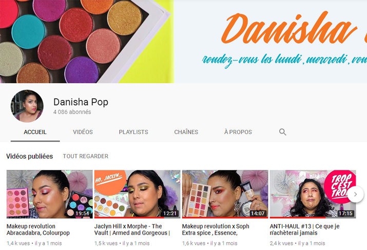 Youtubeuses beauté francophones : Danisha Pop