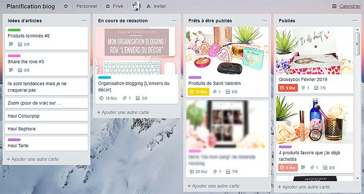 Toute mon organisation blogging #blog #blogging #trello