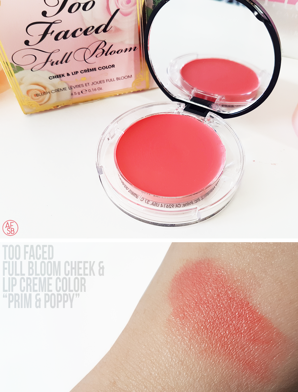 Too Faced - Full Bloom Cheek & Lip Creme Color in Prim & Poppy